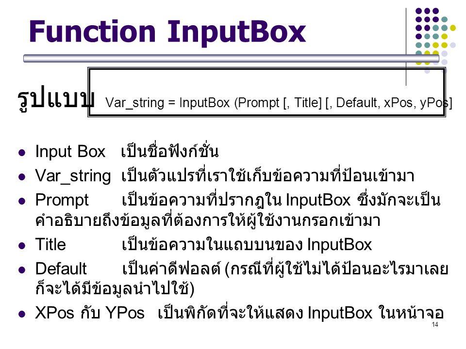 รูปแบบ Var_string = InputBox (Prompt [, Title] [, Default, xPos, yPos]